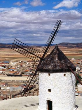 Restored Windmill Looking Over Town, Consuegra, Spain by Damien Simonis