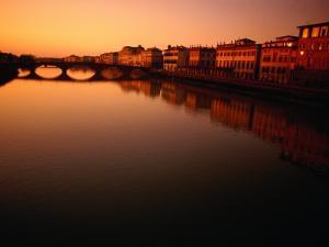 Sunset Over Arno River Seen from Ponte Santa Trinita, Florence, Italy by Damien Simonis