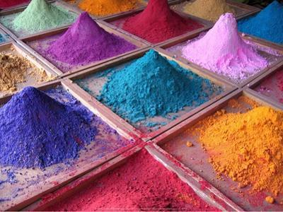 Pigments for Sale on Market Stall, Goa, India by Dan Brady