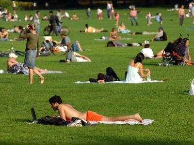 Lawn Scene, Central Park, New York City, New York by Dan Herrick