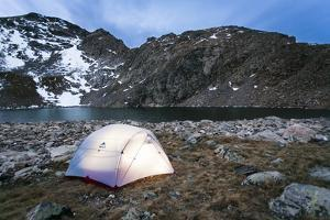 4 Person Tent Glows with a Lantern at the Base of an Alpine Route in Alice, Colorado by Dan Holz