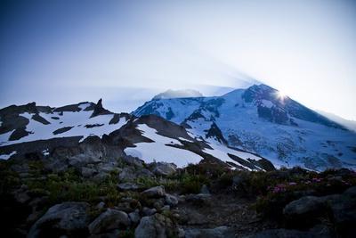 Sun Rising from Behind Mount Rainier - Mount Rainier National Park, Washington