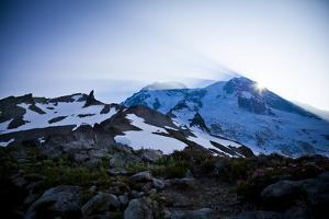 Sun Rising from Behind Mount Rainier - Mount Rainier National Park, Washington by Dan Holz
