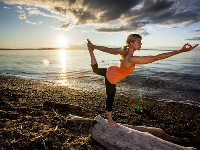 Yoga Position: Dance Pose on the Beach of Lincoln Park - West Seattle, Washington