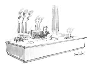 A business man sits at a :desk,. smokestacks visible out the rear window, … - New Yorker Cartoon by Dana Fradon
