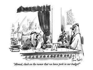 """""""Ahmed, check on the rumor that we have pork in our budget!"""" - New Yorker Cartoon by Dana Fradon"""