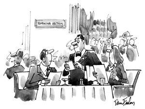 Couple sitting at a dinner t table smoking.  In the distance there is a si… - New Yorker Cartoon by Dana Fradon