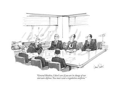 """""""General Hoskins, I don't care if you are in charge of our star-wars defen?"""" - New Yorker Cartoon"""