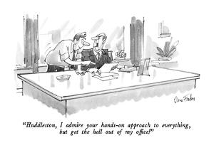 """""""Huddleston, I admire your hands-on approach to everything, but get the he…"""" - New Yorker Cartoon by Dana Fradon"""