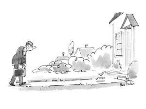 Man returning home is greeted by running martini. - New Yorker Cartoon by Dana Fradon