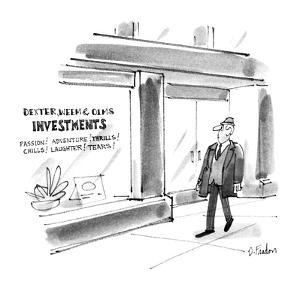 Mans walks by a store that has a sign in the window that reads 'Dexter, We… - New Yorker Cartoon by Dana Fradon