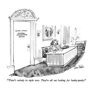 """""""There's nobody in right now.  They're all out looking for hanky-panky."""" - New Yorker Cartoon by Dana Fradon"""
