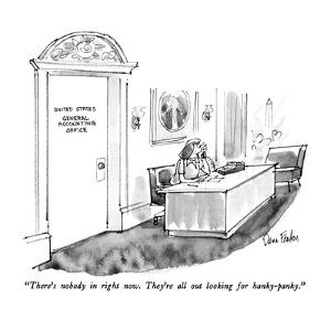 """There's nobody in right now.  They're all out looking for hanky-panky."" - New Yorker Cartoon by Dana Fradon"