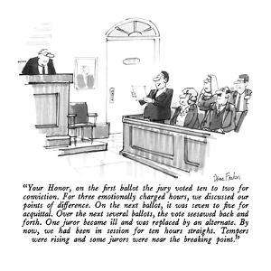 """""""Your Honor, on the first ballot the jury voted ten to two for conviction.…"""" - New Yorker Cartoon by Dana Fradon"""