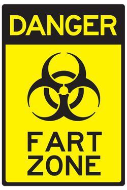 Danger Fart Zone Humor Plastic Sign