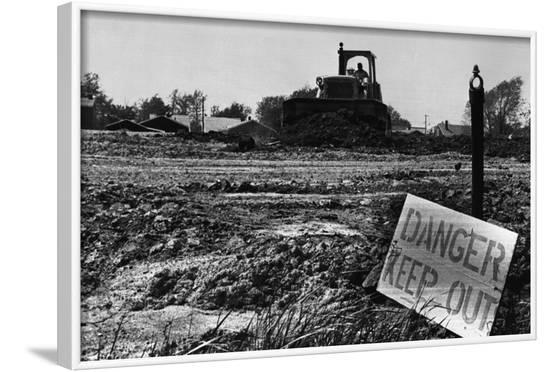 Danger Sign in Love Canal Lot--Framed Photographic Print