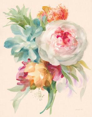 Garden Bouquet I on Peach Linen by Danhui Nai