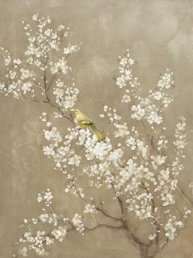 White Cherry Blossom II Neutral Crop Bird by Danhui Nai