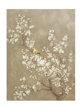 White Cherry Blossom II Neutral Crop Bird by Danhui Nai