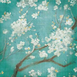 White Cherry Blossoms I on Blue Aged No Bird by Danhui Nai