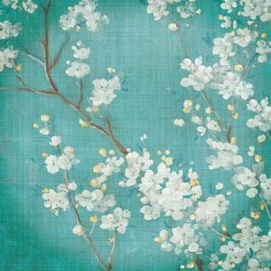 White Cherry Blossoms II on Blue Aged No Bird by Danhui Nai