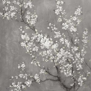 White Cherry Blossoms II on Grey Crop by Danhui Nai