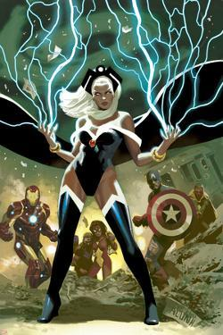 Avengers No.21 Cover: Storm, Captain America, and Iron Man by Daniel Acuna
