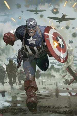 Captain America No.615 Cover: Captain America Running with his Shield by Daniel Acuna