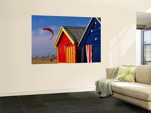 Beach Huts with Kitesurfer and City Skyline in the Background, Brighton by Daniel Boag