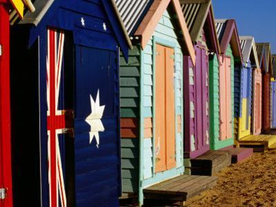 Brightly-Painted Beach Huts, Brighton, Melbourne, Victoria, Australia