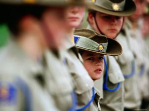 Cadets Standing to Attention During the Anzac Day Ceremony, Melbourne, Australia by Daniel Boag