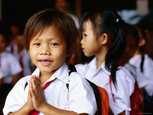 Local School Children Assemble Before School, Kampot, Cambodia by Daniel Boag