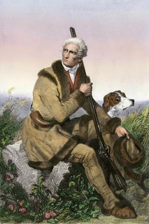 Daniel Boone, Pioneer of Kentucky, with His Rifle and Dog