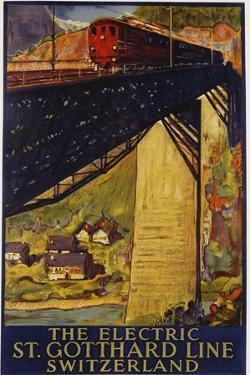 The Electric St. Gotthard Line, Switzerland Poster by Daniel Buzzi