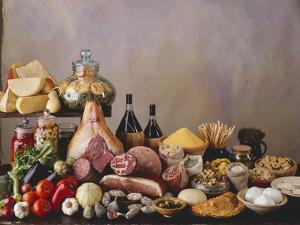Still Life with Italian Food and Wine by Daniel Czap
