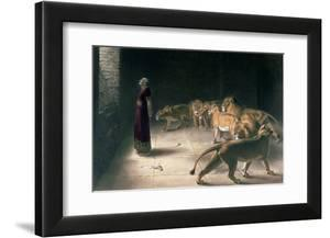Daniel in the Lions Den  Mezzotint by J. B. Pratt  with Hand Colouring