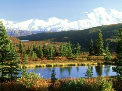 Snow-Capped Mount Mckinley and Beaver Pond, Alaska