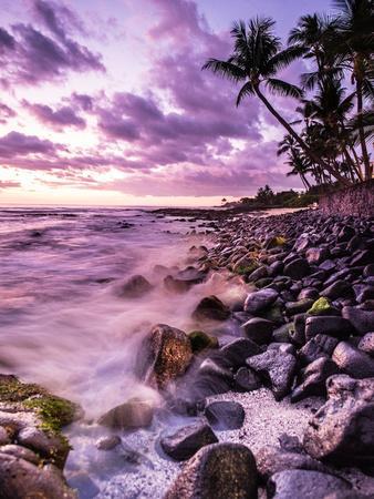 A Scenic Beach At Sunset Along The Kona Coast Of Hawaii's Big Island