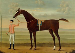 A Bay Racehorse with his Jockey on a Racecourse by Daniel Quigley