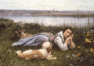 Reverie, 1866 by Daniel Ridgeway Knight
