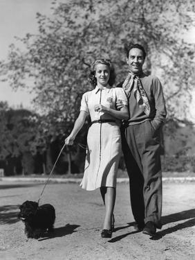 Danielle Darrieux and her husband Henri Decoin (Bel-Air, California). Danielle Darrieux, 1938 CALIF