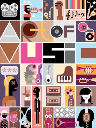 Musical Collage of Various Images - Colorful Vector Illustration with Text Art of Music . by danjazzia