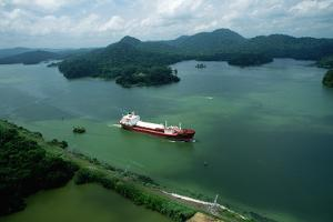 Cargo Ship in the Panama Canal by Danny Lehman