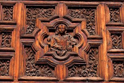Carved Door Panel at Church of San Juan De Dios