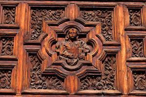 Carved Door Panel at Church of San Juan De Dios by Danny Lehman