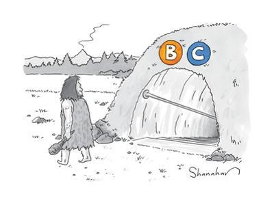 """(A caveman walks past a tunnel labeled """"BC"""") - New Yorker Cartoon by Danny Shanahan"""