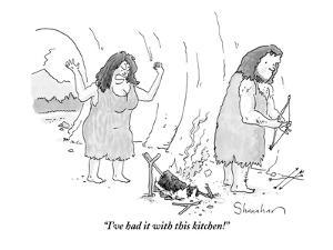 (A cavewoman raises her arms in anger, looking at a failed attempt to cook… - New Yorker Cartoon by Danny Shanahan