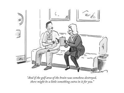 """""""And if the golf area of the brain was somehow destroyed, there might be a... - New Yorker Cartoon by Danny Shanahan"""