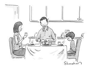 """And if you don't finish your vegetables, Daddy will take you to a Knicks …"" - New Yorker Cartoon by Danny Shanahan"