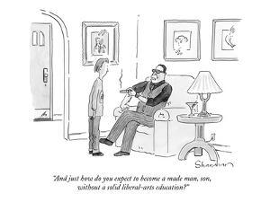 """""""And just how do you expect to become a made man, son, without a solid lib…"""" - New Yorker Cartoon by Danny Shanahan"""